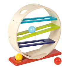 Wooden toys for kids from Janod are tons of fun and learning, all rolled into one colourful and cute package! This fun Tattoo Ball Track game is no different. Kids will enjoy watching the balls run down the track.