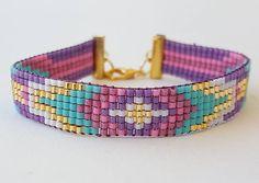 Bead Loom Bracelets, Beaded Bracelet Patterns, Bead Loom Patterns, Bracelet Crafts, Beaded Earrings, Bead Jewellery, Beaded Jewelry, Handmade Jewelry, Loom Beading