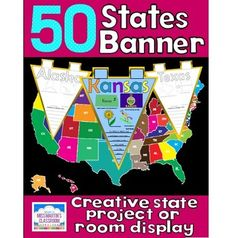 50 U.S. States classroom banner state report $