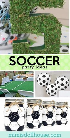 Let's kick this party into gear with some amazing Soccer birthday party ideas. Today I am sharing some of my favorite soccer party ideas to make a great futbol birthday party! Check out these soccer pa Soccer Birthday Parties, Football Birthday, Sports Birthday, Birthday Party Themes, Birthday Ideas, Cake Birthday, Soccer Party Favors, Kids Party Decorations, Party Ideas