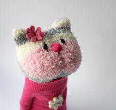 cat sock animal plush animal sock doll pink by TreacherCreatures