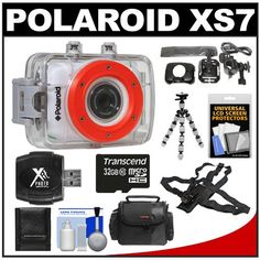 Nice Polaroid XS7 Waterproof Hi-Def HD Sports Video Camera Camcorder with Helmet, Bike & Chest Mounts + 8GB Memory Card + 32GB Memory Card + Case + Flex Tripod + Accessory Kit
