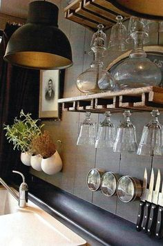 :: Havens South Designs :: loves this over the sink glassware and knife storage