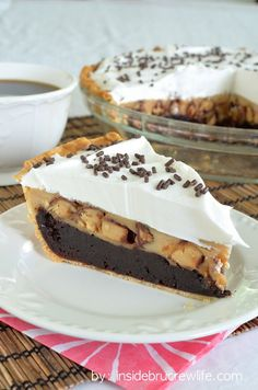 Peanut Butter Snickers Cheesecake Brownie Pie - fudge-y brownie pie topped with a peanut butter Snickers cheesecake