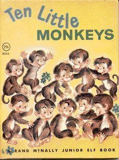 Ten Little Monkeys Vintage Rand McNally Jr Elf Book. Gage loves the Monkeys rhyme- he dances. Kids Story Books, Children Books, Good Books, My Books, Childhood Stories, Children's Book Illustration, Book Illustrations, Books For Teens, Little Golden Books