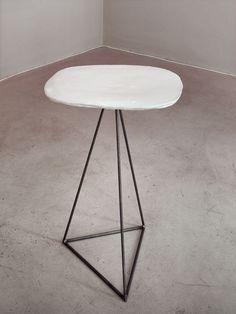 porcelain and steel table 45 x 55cm, h 73cm  porcelain slab and rebar steel base