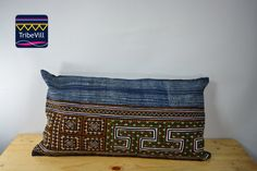 """Vintage Pillow Cover, Hill Tribe Textile Decorative Pillow Handmade Cotton and Hemp Embroidered Eco Friendly 12"""" x 22"""" HCB0020"""