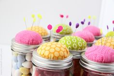 Pin Cushion Jars (fill with buttons, notions……..or candy!!)