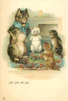 Louis Wain ?(unsigned)  CHRISTMAS, NURSERY SERIES, is a 'mixed set', some may not be by Wain, see Booth and Lund
