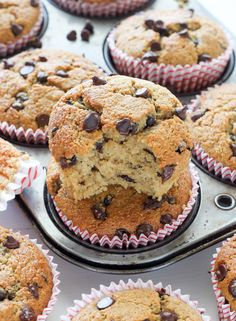 Healthy Bakery Style Chocolate Chip Muffins (no butter, no sugar, oat flour)