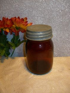Brown Amber Glass Canning Jar With Ball Zinc Lid by zantana, $10.25