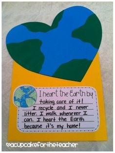 Earth day writing. Doing this but adding the handprint in green in the middle. ☺