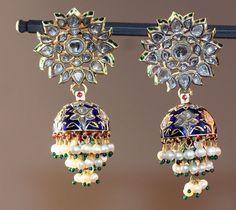 India Rajasthan Earrings (Karanphul Jhumka), cenury Gold, diamonds, and pearls inset in the kundan technique, with polychrome enamel (minakari) A: x x cm x 1 x 1 in. Indian Jewelry Earrings, Ethnic Jewelry, Jewelery, Hoop Earrings, Royal Jewelry, Fashion Earrings, Gold Jewelry, Wooden Jewelry, Antique Jewelry