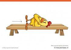 Bewegingskaarten kip voor kleuters 5, met je rug over de bank schuiven , kleuteridee.nl , thema Lente, Movementcards for preschool,  free pr...