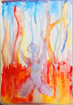 """""""Person kneeling down and crying out to the sky in watercolour"""" by Vishwani Chauhan, watercolour on paper."""