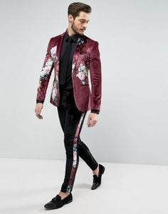 Find the best selection of ASOS Super Skinny Suit In Burgundy Velvet With Floral Print . Indian Men Fashion, Mens Fashion Suits, Mens Suits, Floral Suit Men, Floral Blazer, Velvet Suit, Black Velvet, Suede Suit, Prom Suits For Men