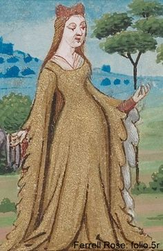 Houppelande with dagged sleeves - from a French glossary under Franges (dagging in English)