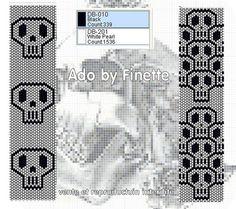 Beaded Skulls peyote pattern black and white