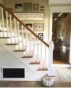 Farmhouse gallery wall staircase