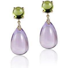 Goshwara Naughty Lavender Amethyst Drop & Peridot Cabochon Earrings (14.160…