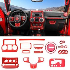 RT-TCZ Grab Handles Button Cover Trim Door Grab Handle Knobs Push Button Cover for Jeep Wrangler 2007-2018