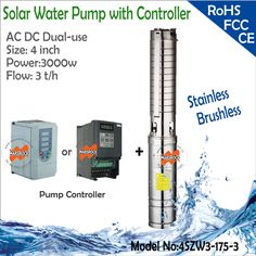 660.00$  Watch here - http://ai6ck.worlditems.win/all/product.php?id=1000002000456 - 4inch 3000W AC and DC Dual-Use Brushless high-speed solar water pump with flow 3T/h and head 175 meter