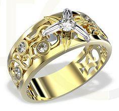 Pierścionek z białego i żółtego złota z diamentami / Ring made from white and yellow gold with diamonds / 3055 PLN #diamonds #gold #ring  #jewellery #jewelry