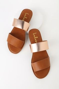 Kick back and enjoy your new purchase; the Time to Chill Tan and Rose Gold Slide Sandals! These simple vegan suede slides have a chic two-toned look thanks to tan and rose gold straps. Sole is lightly cushioned for comfort. Sandals Outfit, Cute Sandals, Sport Sandals, Cute Shoes, Women's Shoes, Simple Sandals, Beach Sandals, Golf Shoes, Platform Shoes