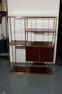 modernist etagere in walnut wood and brass by paul mccobb 2 paul