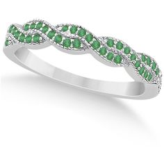 Allurez Emerald Infinity Style Semi Eternity Wedding Band 14k W Gold... (1,225 CAD) ❤ liked on Polyvore featuring jewelry, rings, white gold, yellow gold engagement rings, criss cross ring, gold rings, emerald ring et engagement rings