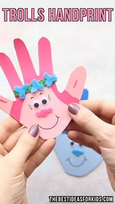 Kids Crafts TROLLS HANDPRINT CARDS - this Trolls craft is so cute! Perfect ideas to make for a Troll's birthday party! An easy Trolls craft for kids t. Valentine's Day Crafts For Kids, Toddler Crafts, Preschool Crafts, Projects For Kids, Diy For Kids, Fun Crafts, Activities For Kids, Craft Projects, Card Crafts