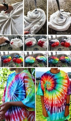 Or use tie-dye to create this awesome spiral effect on your t-shirts.