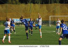 MOSCOW - AUGUST 18: Vorontsova Daria (4) in action on game Kubanochka vs CSP Izmailovo on Russian tournament of women football league on August 18, 2013, in Moscow, Russia http://www.shutterstock.com/pic.mhtml?id=175817516  #soccer, #woman, #youth, #girl, #player, #game, #leisure, #kick, #net, #gate, #recreational, #foot, #ball, #field, #success, #vorontsova, #teamwork, #competitive, #grass, #active, #kubanochka, #goal, #fitness, #female, #team, #lifestyle, #young, #football, #vitality…