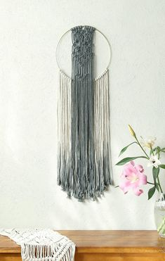 Gold ring Wall decor Macrame wall hanging Home decor Off white and dark gray Wall art Boho chic Wall Tapestry Modern dream catcher Grey Wall Art, White Wall Decor, Dark Grey Walls, Weaving Art, Decoration, Boho Decor, Wall Tapestry, Gold Ring, Macrame Modern