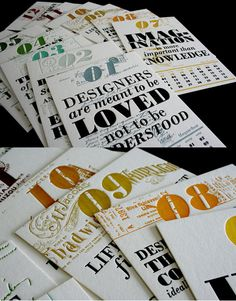 2011 letterpress calendar by Fabien Barral _ printed on 600g coton paper by Lettera Magica.