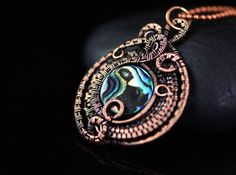 Wire wrapped mother of pearl pendant wire weave shell copper wire jewelry magical fantasy elaborate wire work handcrafted jewelry elvish elf