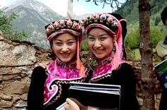 Two Jiarong Tibetan young women smiling at camera in Gyarong Beauty Valley,Danba County,Garz� Tibetan Autonomous Prefecture,Sichuan Province,China - Royalty Free Images, Photos and Stock Photography :: Inmagine