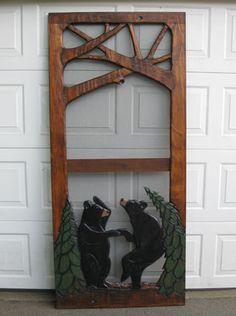 Dancing bears carved screen door