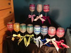 Bedazzled Wine Glasses on Etsy, $30.00 Diy Wine Glasses, Glitter Glasses, Custom Wine Glasses, Glitter Wine, Painted Wine Glasses, Wine Glass Crafts, Bottle Crafts, Greek Crafts, Arts And Crafts