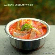 capsicum Eggplant Cooked in tangy tamarind juice recipe Curry Recipes, Veggie Recipes, Indian Food Recipes, Whole Food Recipes, Vegetarian Recipes, Healthy Recipes, Ethnic Recipes, Vegetarian Curry, Vegan Curry