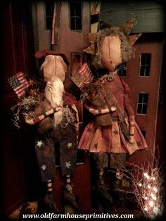 #MA11 Hanging Primitive Uncle Sam & Lady Liberty (Made In USA)