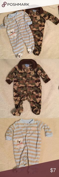Two Onesies Adorable EUC onesies. Camo onesie is fleece. Brand is Carter's- but different Carter's than the other onesie.  Smoke FREE home Carter's One Pieces Bodysuits