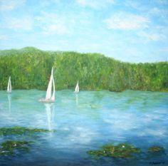 Hallwilersee mit Segelschiffen in der Nähe des Aabach von Kunstmaler Josef Biehler.