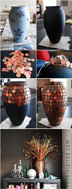 Embellir un vase et recuperer des cennes noires!