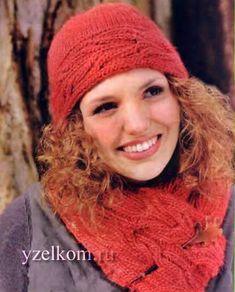 вязанные шапочки с косами
