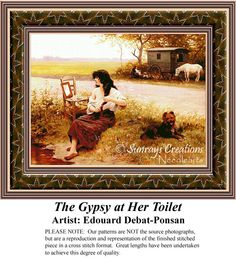 The Gypsy at Her Toilet, Fine Art Counted Cross Stitch Pattern Fine Art Counted Cross Stitch Pattern also available in Kit and Digital Download #pinterestcrossstitchpattern #pinterestgifts #fineartcrossstitchpatterns