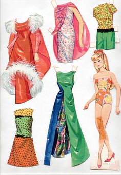 Vintage Whitman/Mattel BARBIE HAS A NEW LOOK paper dolls 1967 cut MOD-ERA