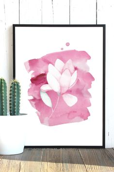 Cute printable wall art. This pink watercolor flower print will add a splash of color to your living room, bedroom or office. It is available as a digital download in 4 different sizes: 5 X 7 inches, 8 X 10 inches, European standard A4 and US letter (8.5 X 11 inches). After purchase you can download the picture and print it as many times as you want :) Color may vary from monitor to monitor. Personal use only, no reselling. Girls Room Paint, Pink Wall Art, Pink Lotus, Affordable Art, Watercolor Flowers, Printable Wall Art, Flower Prints, Wall Prints, A4