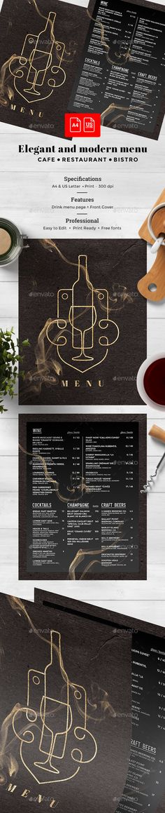 Drinks #Menu - #Food Menus Print #Templates Download here:  https://graphicriver.net/item/drinks-menu/19587276?ref=alena994