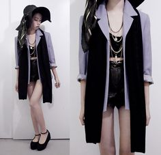 shorts, bustier, pastels with black, blazer, creeper-ish shoes, lose the hat and scarf